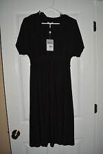 Metro 7 Woman Black Ruffle V Neck Dress Large N NWT