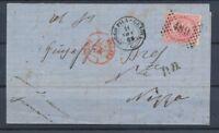 1869 Lettre Italie 40c obl 489 CAD BORGO-PILA GENOVA pr NIZZA P4506