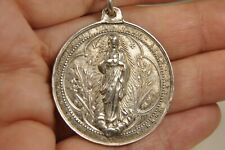 COLLIER MEDAILLE RELIGIEUSE ANCIEN ARGENT MASSIF SOLID SILVER RELIGIOUS MEDAL