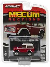 2017 GREENLIGHT 1:64 *MECUM AUCTIONS* RED & WHITE 1975 Ford Bronco 4x4 *NIP*