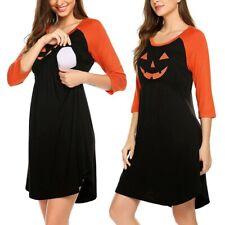 Halloween Maternity 3/4 Sleeve Pumpkin Printed Nursing Dress For Breastfeeding