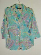 Lauren Ralph Lauren Turquoise Multi Pastel Paisley Pajama PJ Lounge Shirt NEW M