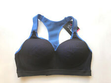Victorias Secret INCREDIBLE Sports Bra 34DD Black Mesh Blue Cups NWT!