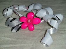 Handmade Pink Flower Girls Hair Tie Pony Tail