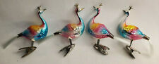 Antique German Peacocks Mercury Glass Clip On Christmas Ornaments Lot of 4