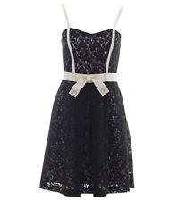 "Alannah Hill ""Cheek to Cheek"" Dress - Black Lace Cream Ribbon Bow RRP $429 - 12"