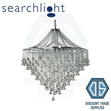 3497-7CC SEARCHLIGHT DORCHESTER CHROME 7 LIGHT CHANDELIER WITH CASCADING CRYSTAL