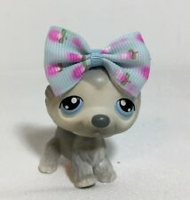 Littlest Pet Shop #69 White/Gray Husky Puppy Dog, Blue Eyes.