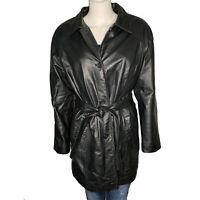 PRESTON & YORK Women's LARGE Leather Coat Jacket Belted Lined Button Pockets