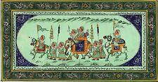 India Rajasthan Rajput Royal Procession Silk Painting Handmade Ethnic Folk Art