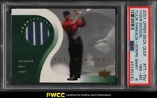 2001 UD Tour Threads Tiger Woods ROOKIE 2-COLOR STRIPED PATCH PSA 8 NM-MT