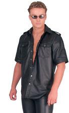 Herren Echt Leder Hemd Jacke kurzarm Uniform m. Futter Ledapol 991 Gr. L SCHWARZ