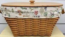 Longaberger Hostess Oval Laundry Basket 2002, Liner, Protector, WoodCrafts Lid