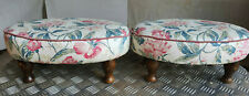 More details for pair,two,antique,repro,oval,floral,stools,footstools,turned legs,footstool,stool
