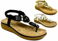 Ladies New Toe Post slingback Low Wedge Heel outdoor summer Sandals UK  3-8