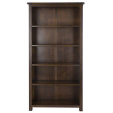 Boston Dark Wood Bedroom Range - Tall Wide Bookcase with Adjustable Shelves