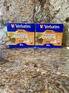 2-Verbatim UltraLife Archival Grade DVD-R 4.7GB 8X Speed 120 Min 5-PK PN 96320