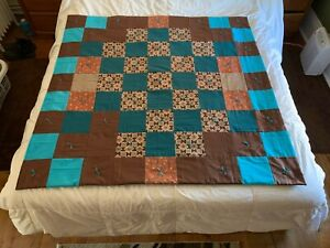"Handmade Brown Turquoise Rust Floral Cotton Quilt Throw Lap Blanket 52"" x 54"""