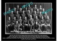 OLD POSTCARD SIZE PHOTO OF UNIVERSITY OF MICHIGAN FOOTBALL TEAM 1933