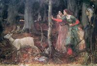Beautiful Oil painting Waterhouse - The Mystic Wood Young women with deer canvas