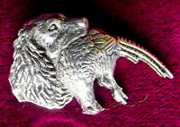 Pewter Springer Spaniel Dog Pheasant Brooch Pin  Signed