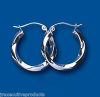 Hoop Earrings Creole Sterling Silver Twist 19mm