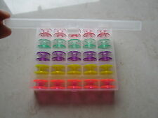 25 Sewing Machine Bobbins in Plastic Box Case BROTHER,TOYOTA, JANOME, 5 Colours