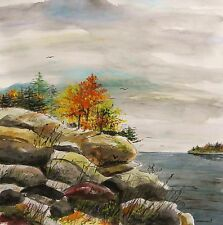 ORIGINAL SEA Landscape Watercolor Painting JMW art John Williams Impressionism