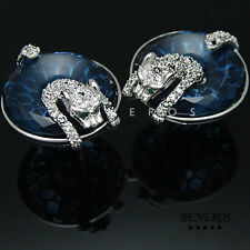 Unique Leopard Animal Earrings Silver Plated w Cubic Zirconia Cat Tiger Jewelry