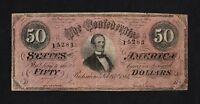 F.C. ESTADOS CONFEDERADOS , RICHMOND , 50 $ 1864 , B/C ( F ) , SUCIO , P.70 .
