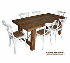 KING WOOD SOLID TIMBER DINING SET WITH 6 WHITE CROSS BACK CHAIRS
