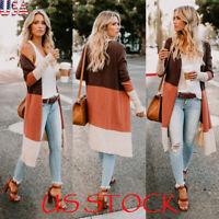 Women Long Sleeve Color Block Open Front Knit Long Cardigan Autumn Casual Coat