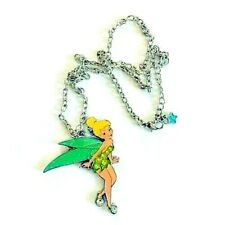 Disney Tinker Bell Necklace Silver-tone With Green & Yellow Enamel Rhinestones
