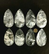 Natural Rock Crystal Quartz Pendants chandelier Parts Prisms Half Pear 102mm 8pc