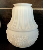 ART DECO ANTIQUE FROSTED MILK GLASS Floral Ribbed Globe Light Shade