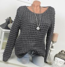 DOUILLET pull tricot grossier chaud pull vintage extra-large 36 38 40 gris foncé