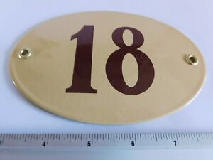 Old Vintage Art Nouveau Enamel Porcelain House Door Number Street Sign Plaque 18