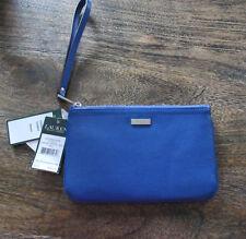 Ralph Lauren Leather Lowel Large Wristlet Wallet Clutch Purse Iris Blue d5764d8eb9