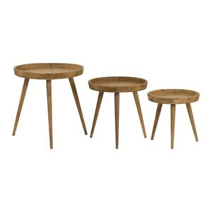 Set of 3 Contemporary Natural Grain Wooden Occasional Side End Round Nest Tables