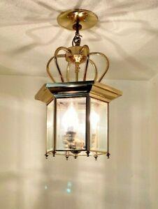 """3 Light Brass hanging Ceiling light Fixture Crown Beveled Glass Approx. 16""""X10"""""""