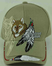 NEW! NATIVE PRIDE WOLF FEATHERS CAP HAT TAN