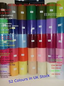 """Plain Soft Tulle Roll 6"""" x 100 Yards Pick 3 roll x100Y  available in 52 colours"""