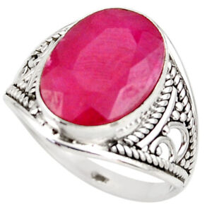 925 Sterling Silver 5.90cts Natural Red Ruby Oval Solitaire Ring Size 7.5 R35344