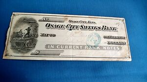 Vintage Antique 1876 Osage City Savings Bank Notes Kansas Check Currencies