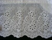 New White Cotton Sateen Embroidery Lace PillowCases Standard Queen King Pair M3#