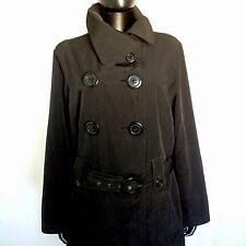 Avenue Womens Black Trench Coat Size 14 / 16  Double Breasted Long Winter Jacket