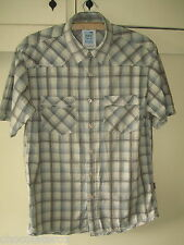 Fat Face ~ Men's Stone & Grey Checked Cotton Short Sleeved Shirt Size  M 43""