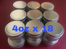 4oz X 18 Deep Metal Round Tins Slip Cover Candles Cosmetics Survival 18-Pack