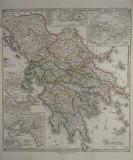 1850 SPRUNER ANTIQUE HISTORICAL MAP ~ GREECE ATHENS PIRAEUS DELPHI THERMOPYLAE
