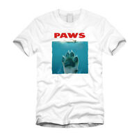 Paws - Jaws Funny Dog Jaws Mashup Puppy Funny Parody Cool White T-Shirt